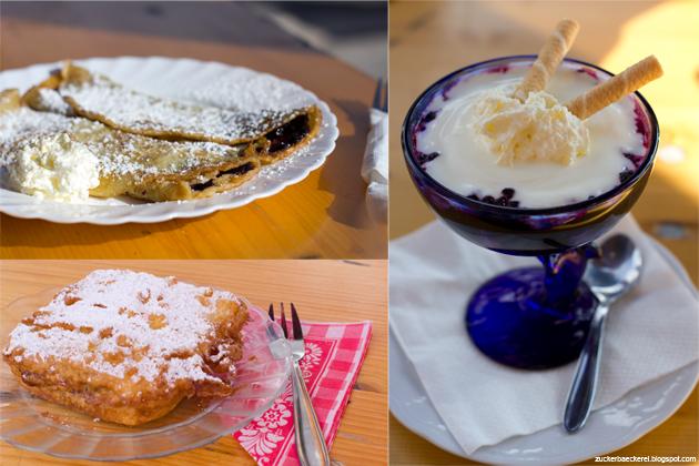 collage: palatschinken, pofesen, joghurt mit heidelbeeren
