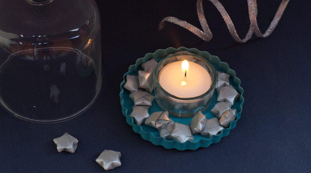 papiersternchen um ein teelicht