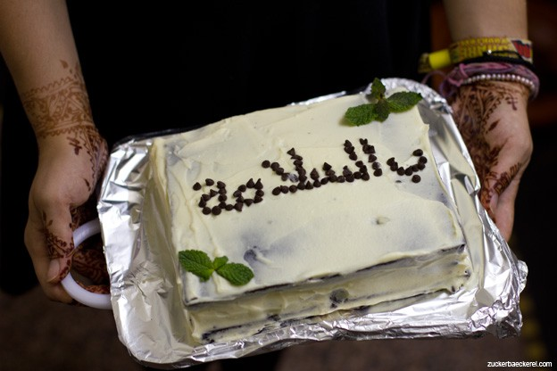 Bslama - Tschüss auf Darija schrieb ich auf meinen Abschiedskuchen. Natürlich mit Minze!