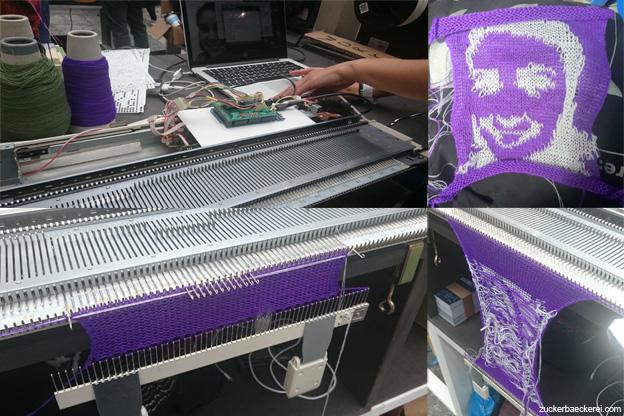 Ein vom Tricotautomaten gestricktes Selbstporträt