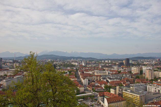 Aussicht über Ljubiljana von der Burg aus