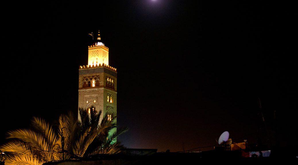 Koutoubia-Moschee Marrakech bei Nacht