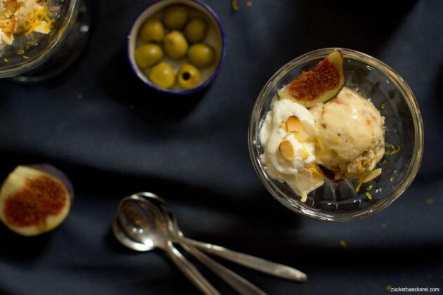 Feigen-Sahne-Eis mit karamellisierten Oliven