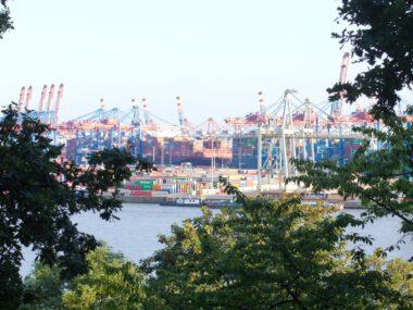 Blick auf Hafenindustrie am anderen Elbufer, im Vordergrund einrahmende Laubbäume