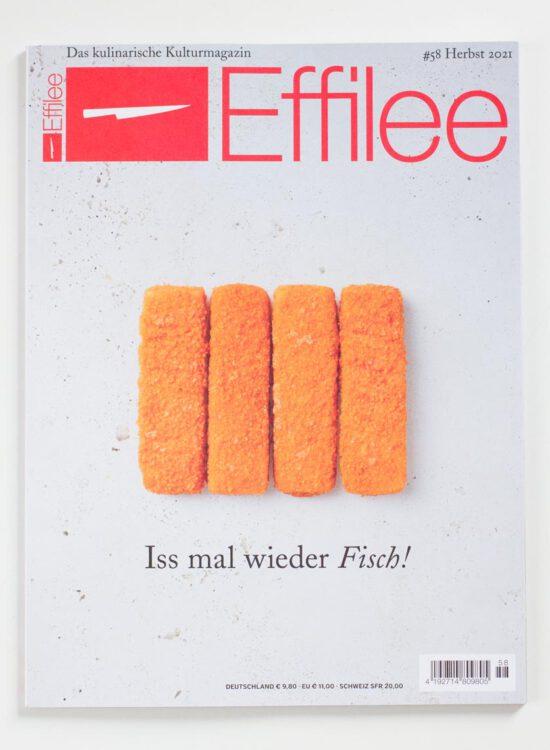 Cover Effilee 58: vier Fischstäbchen auf grauem Grund